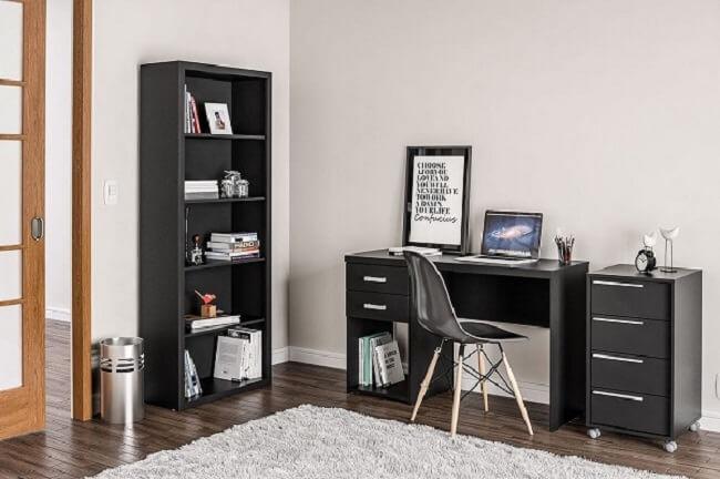 Aposte na compra de um gaveteiro preto para escritório. Fonte: Pinterest