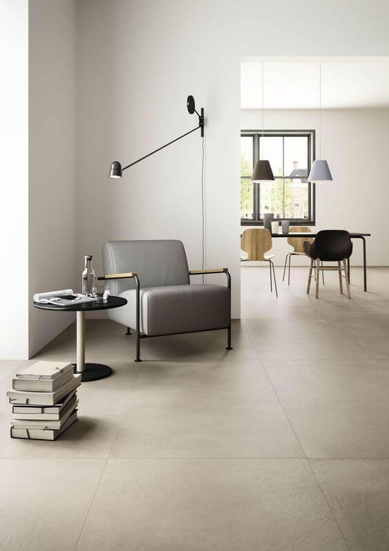 As cores de piso de porcelanato claras são as mais utilizadas em projetos modernos