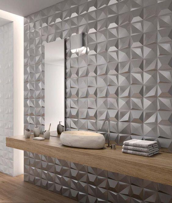 Banheiro com porcelanato 3D cinza