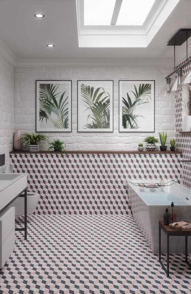 Banheiro com porcelanato em efeito 3D