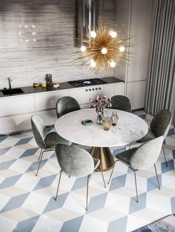 Cozinha moderna com mesa de jantar cone redonda marmorizada
