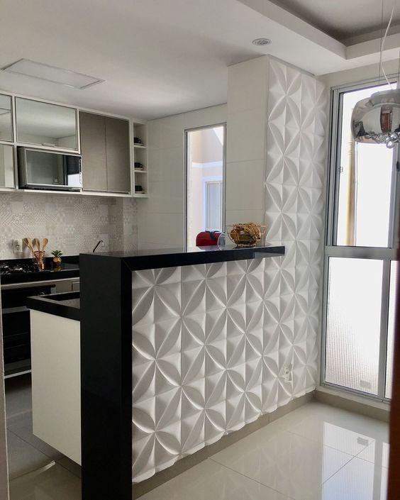 Cozinha pequena com porcelanato 3D