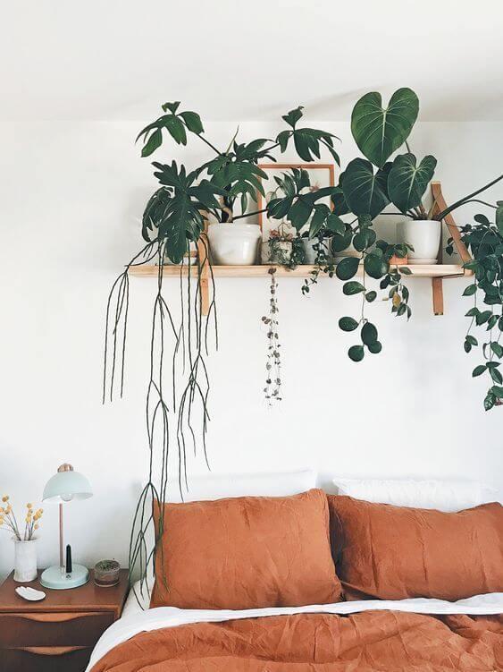 Decoração boho chic com prateleira e plantas