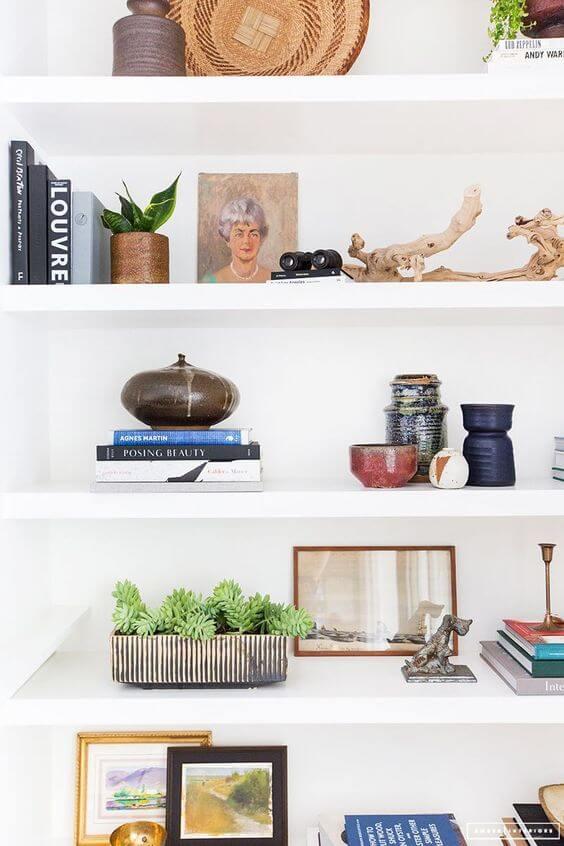 Decoração com estante de gesso moderna