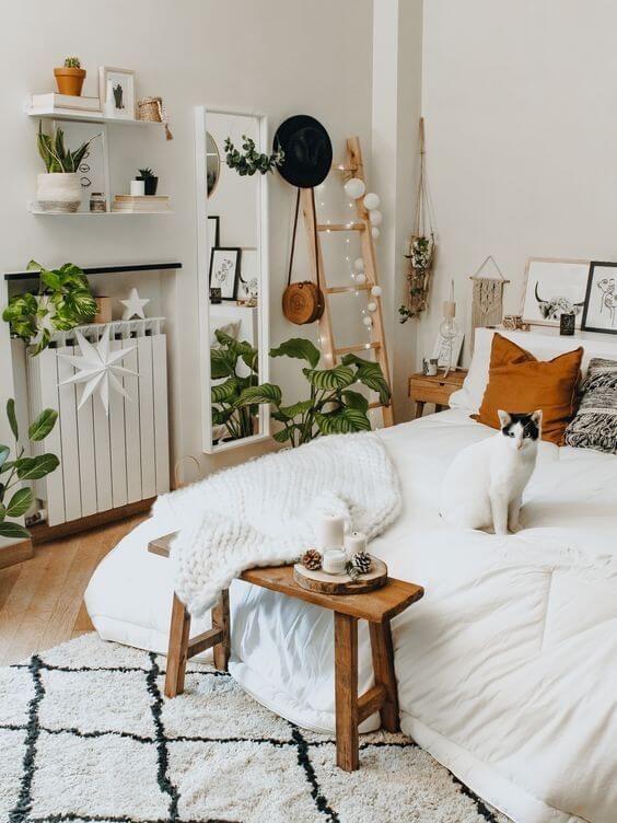 Decoração com quarto boho e decoração minimalista