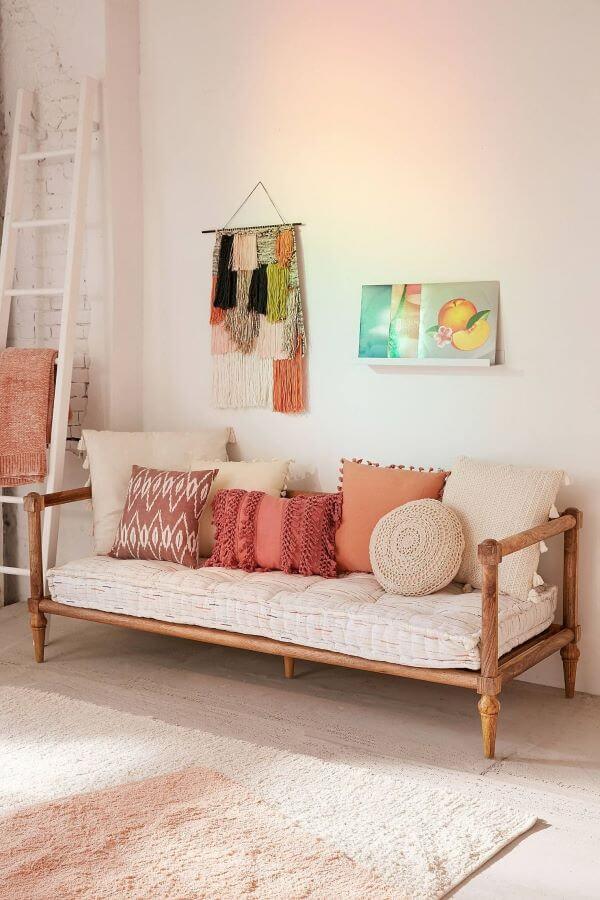 Decoração cor pessego para sala de estar chique