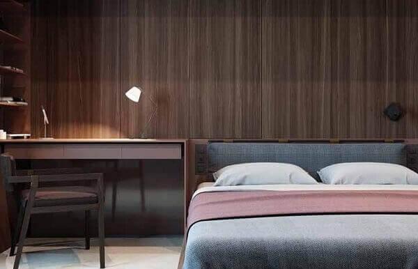 Decoração de quarto marrom e cinza. Fonte: Pinterest