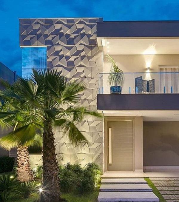 Elabore um projeto luminotécnico que destaque o revestimento 3D externo da fachada. Projeto de Castelatto