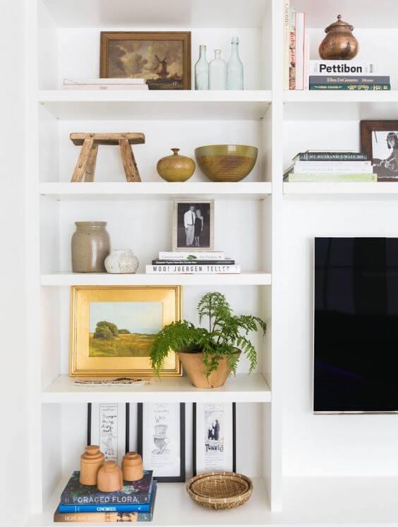 Estante de gesso branca para sala de estar
