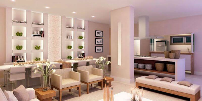 Estante de gesso para sala de estar conceito aberto