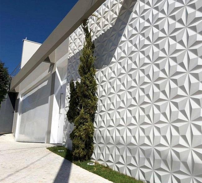 Fachada de casa com revestimento externo 3D. Fonte: Pinterest