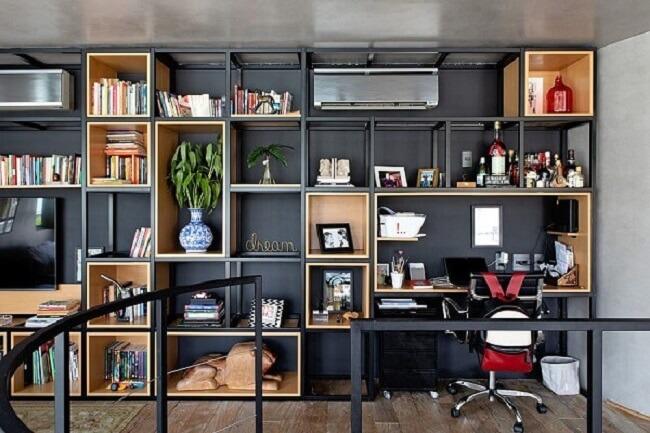 Gaveteiro preto para escritório discreto com rodízios. Fonte: Pinterest