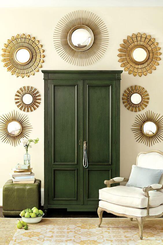 Guarda roupa rustico verde para quarto boho
