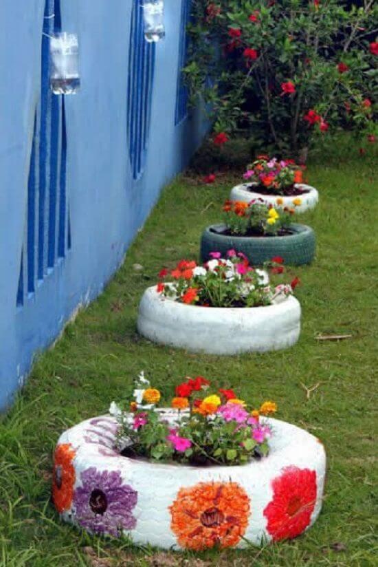 Ideias criativas para jardim colorido