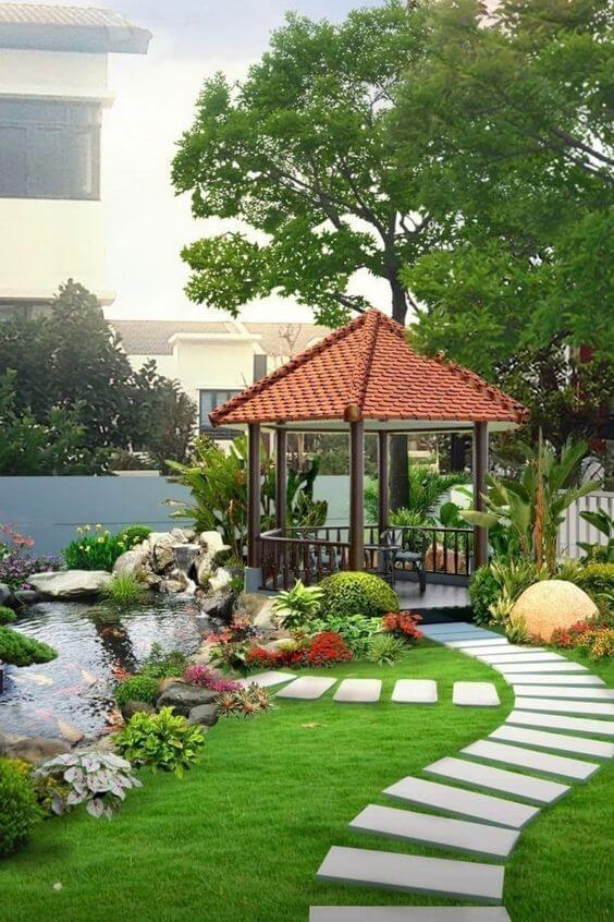 Ideias criativas para jardim com gazebo e lago