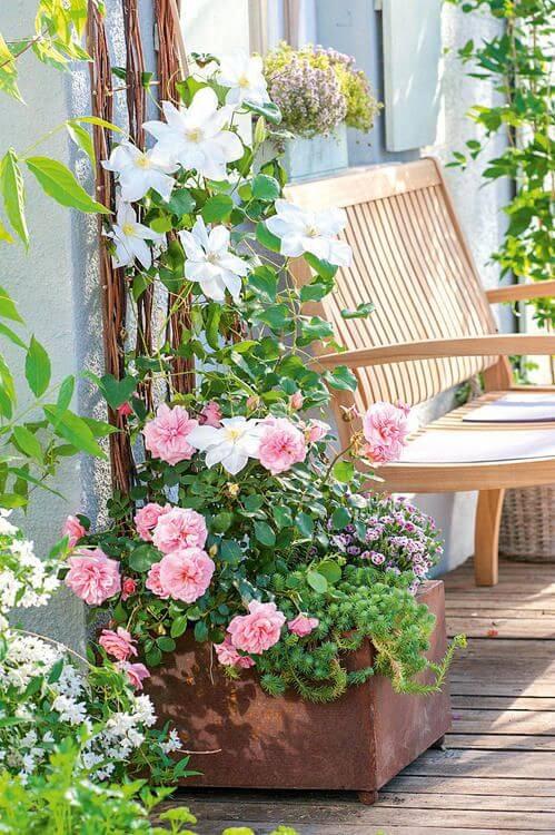 Ideias para jardim com banco de madeira rústico