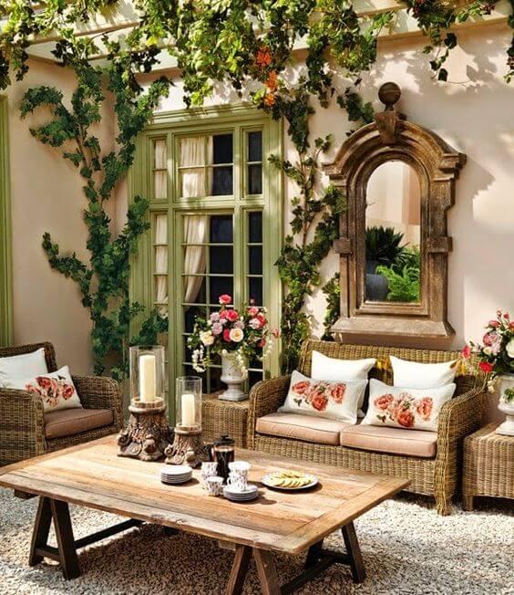 Ideias para jardim com móveis de madeira