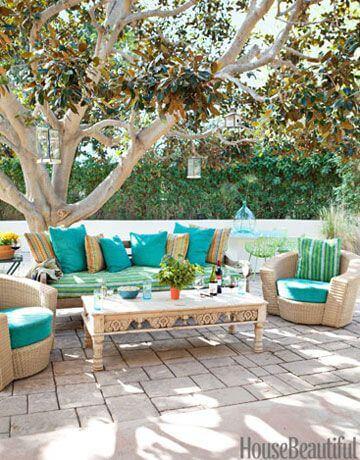 Ideias para jardim com móveis em tons de azul