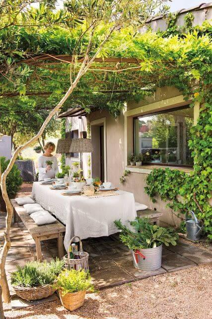 Ideias para jardim com mesa para varanda