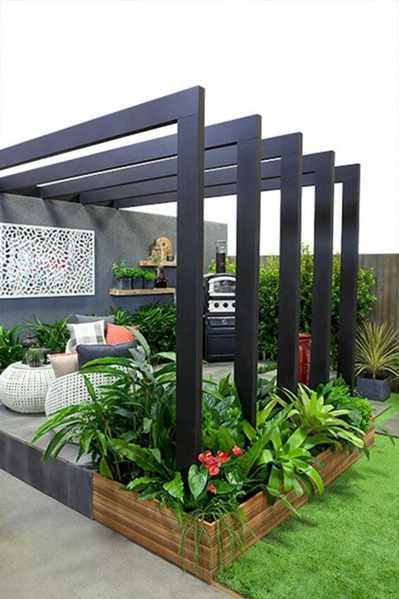 Ideias para jardim com pergolado e móveis cinza