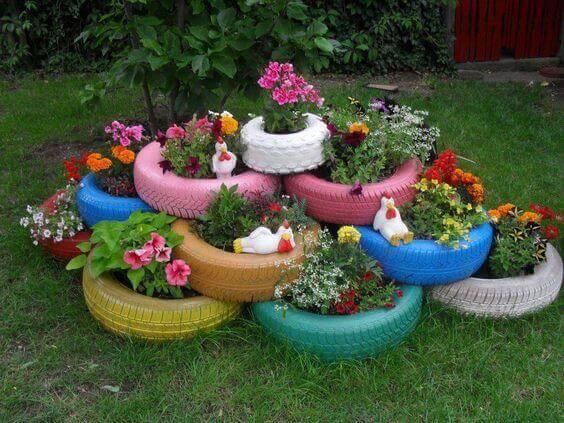 Ideias para jardim com pneu colorido