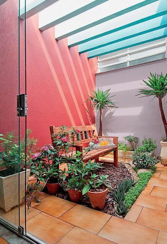 Ideias para jardim de inverno com banco de madeira