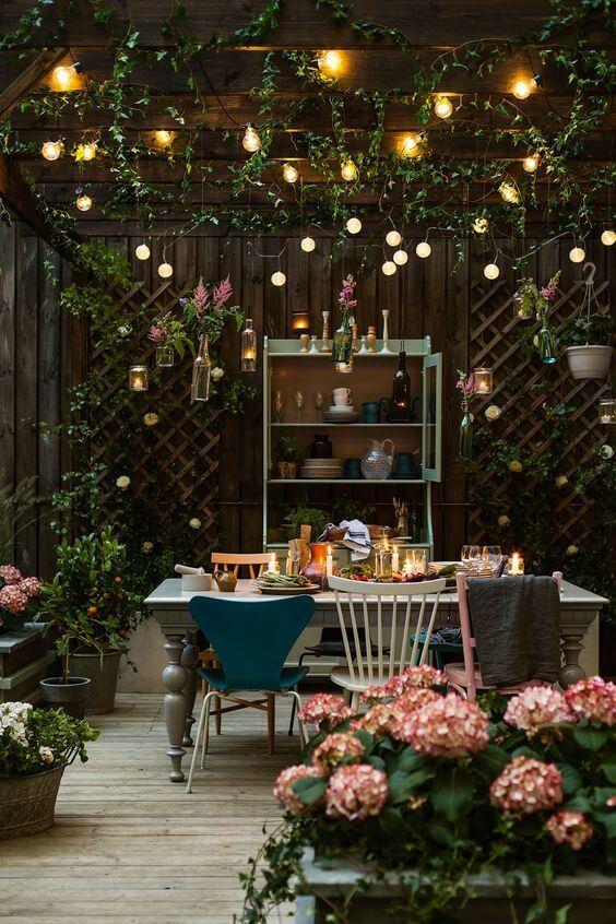 Ideias para jardim romântico com iluminação romântica