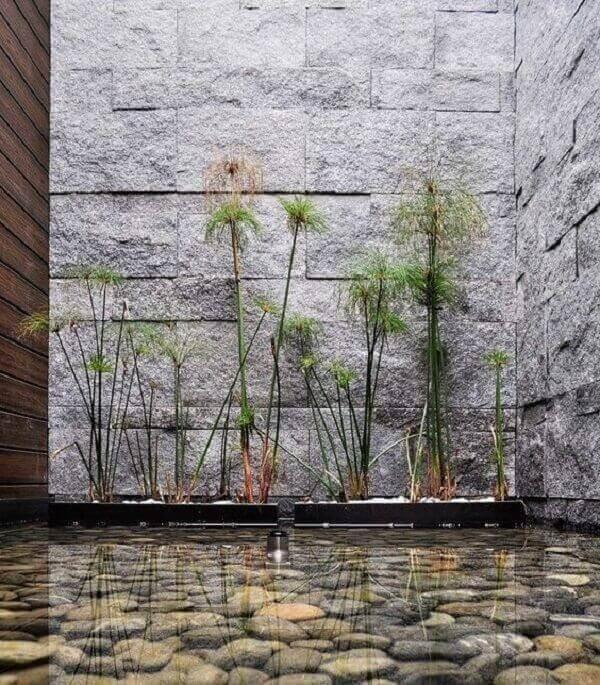 Jardim com pedras de rio e plantas delicadas. Fonte: Pinterest