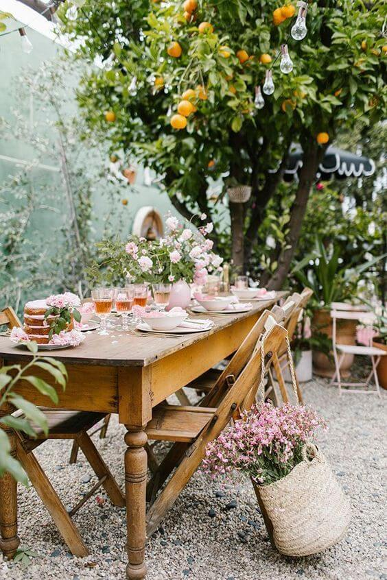 Mesa de jardim madeira retangular