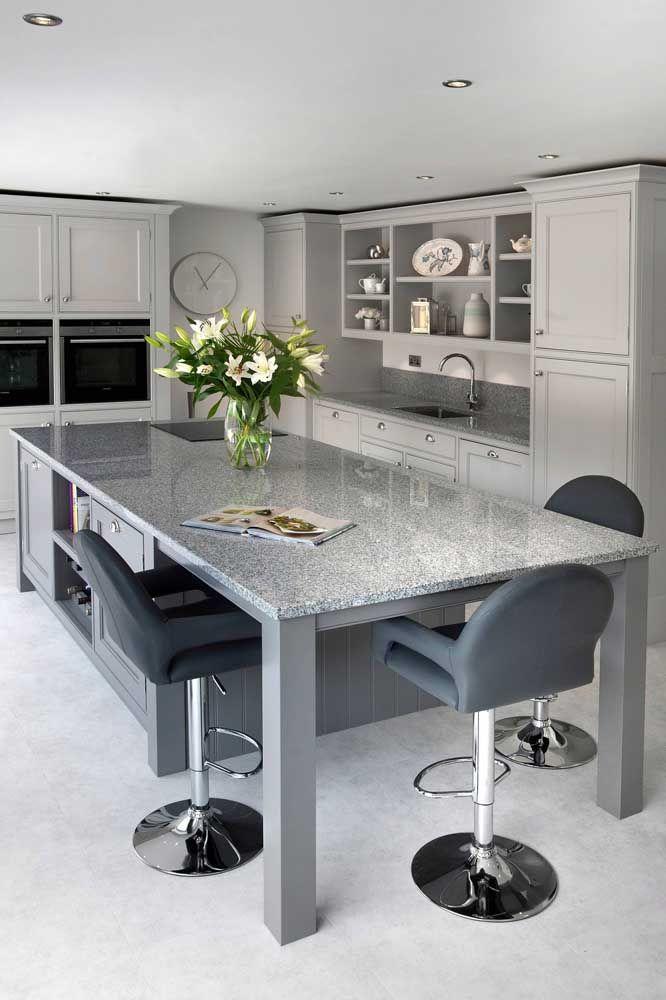 Mesa para cozinha de granito cinza