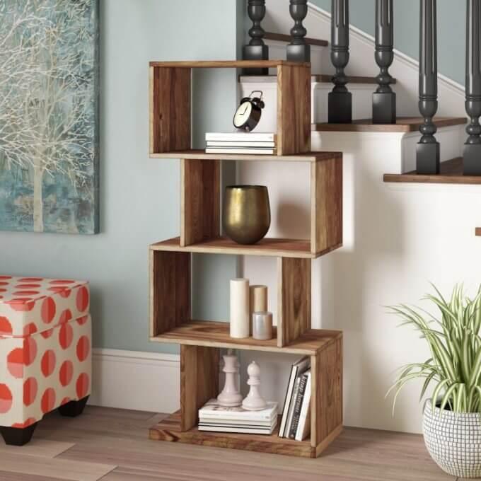 Mini estante de madeira para sala de estar
