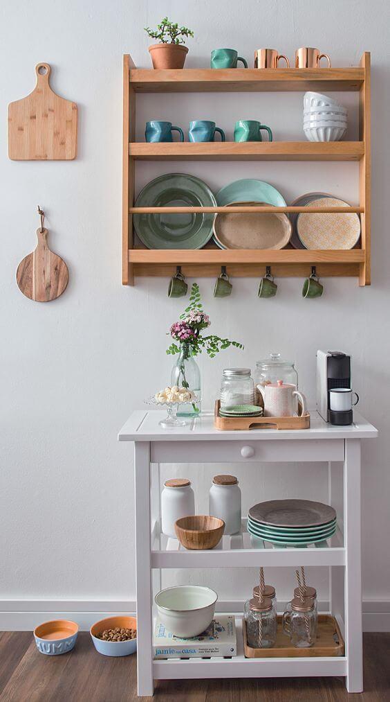 Mini estante para cantinho de café e estante