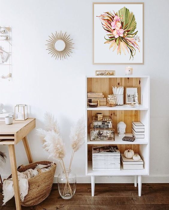 Mini estante para livros e enfeites