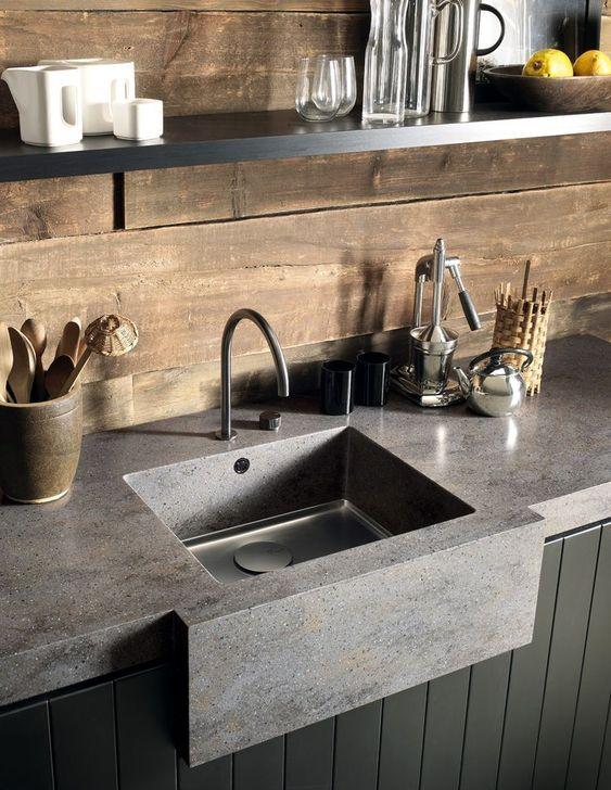 Pia de granito cinza para cozinha moderna