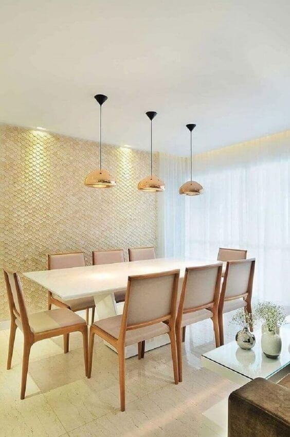Piso bege 3D para sala de jantar chique