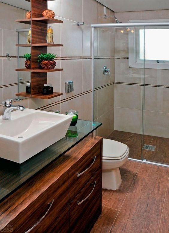 Piso marrom para banheiro moderno com pia branca