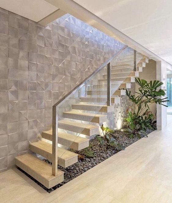 Porcelanato 3D branco na escada
