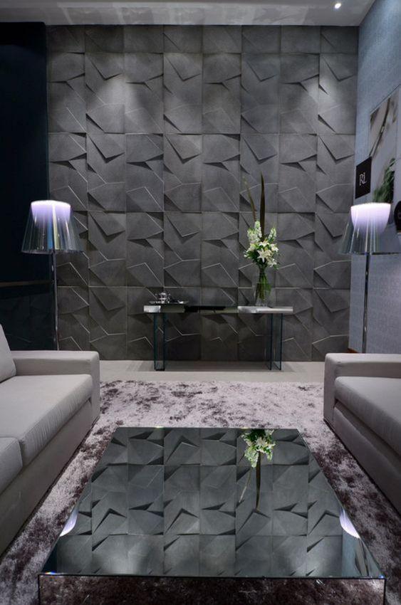 Porcelanato 3D cinza na sala de estar