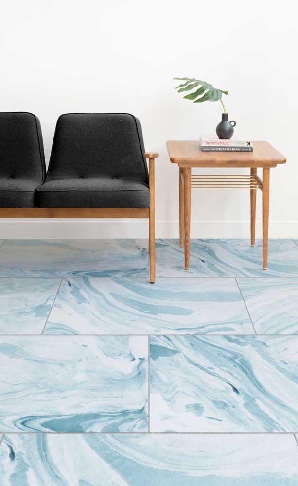 Porcelanato 3D para sala em tons de azul