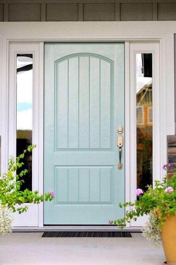 Porta de madeira para sala verde claro