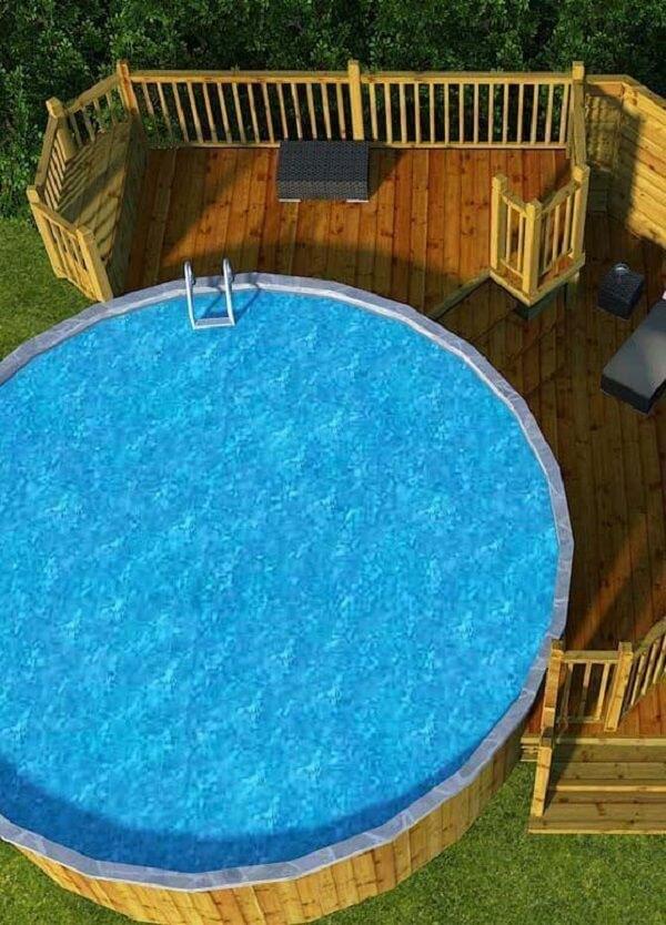 Projeto alternativo com uso de pallet para a piscina redonda grande. Fonte: Pinterest