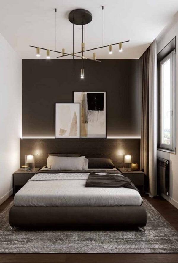 Projeto de quarto marrom e branco moderno e elegante. Fonte: Pinterest