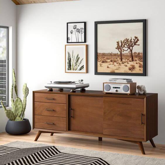 Rack de madeira retro para decoração vintage