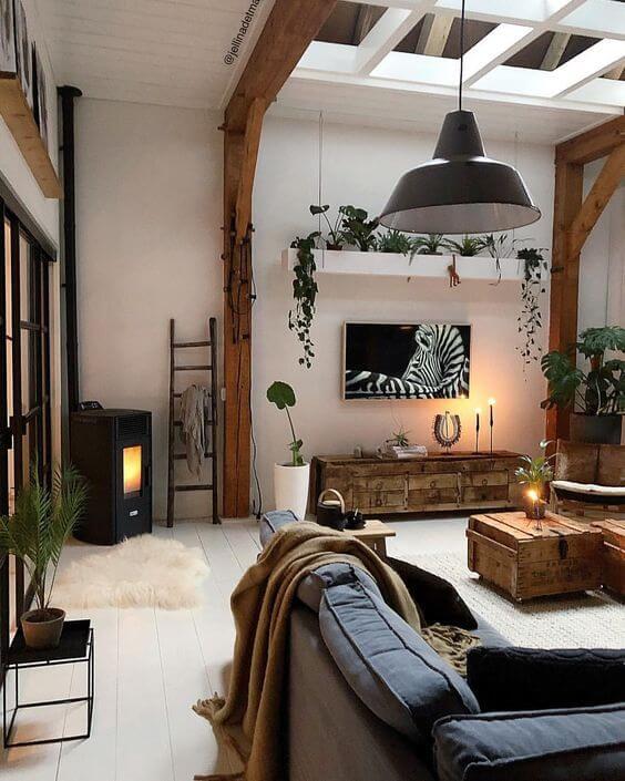 Rack rustica de madeira para sala de estar boho