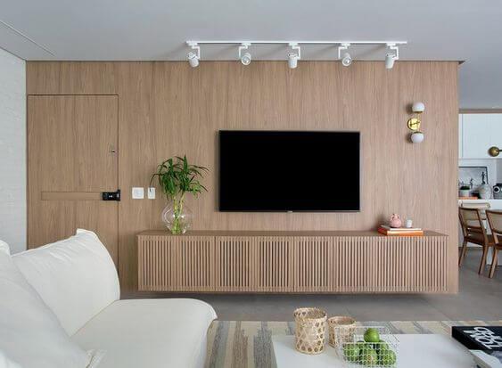 Rack rustica de madeira para sala de estar branca
