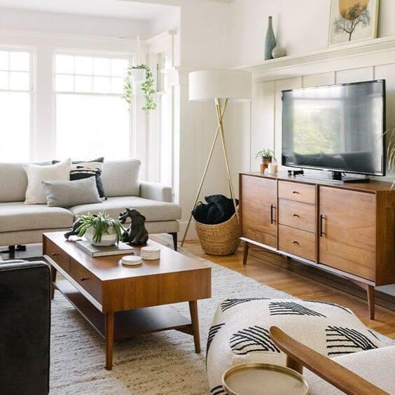 Rack rustica de madeira para sala de estar moderna