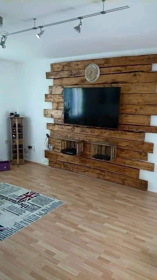 Rack rustico com painel para TV