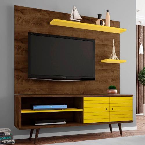 Rack rustico de madeira com portas amarelas