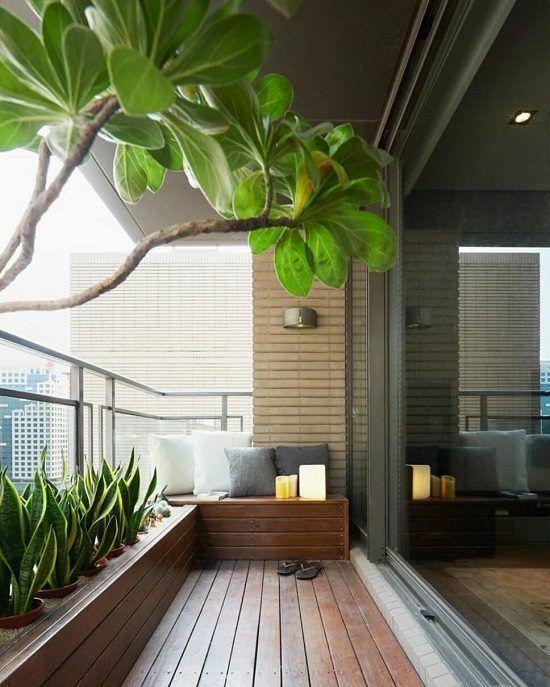 Sacada de madeira com plantas e cortina de vidro