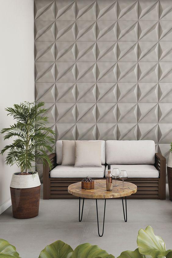 Sala de estar com porcelanato 3D cinza